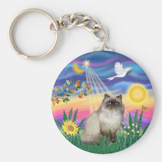 Chocolate Point Himalayan Cat  - Twilight Basic Round Button Key Ring