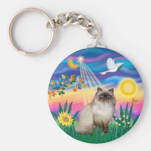 Chocolate Point Himalayan Cat  - Twilight Basic Round Button Key Ring