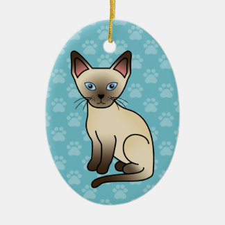 Chocolate Point Siamese Breed Cat Illustration Christmas Ornament