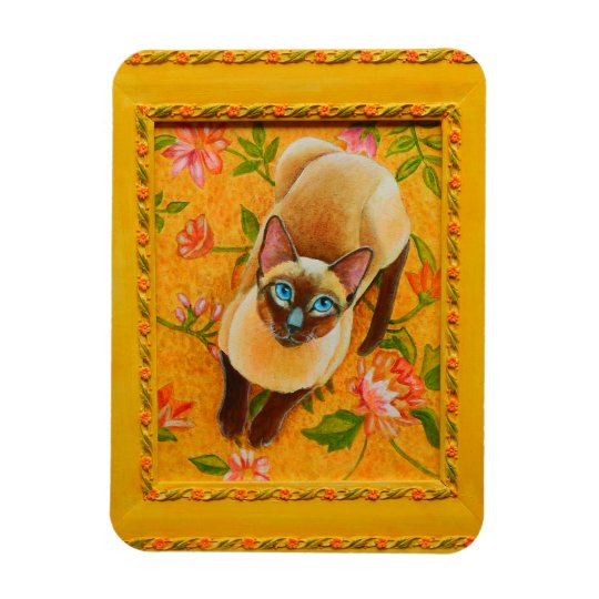 Chocolate Point Siamese Cat on Floral Carpet Magnet