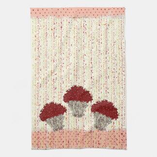 Chocolate Polka Dot Cupcake Frenzy Tea Towel