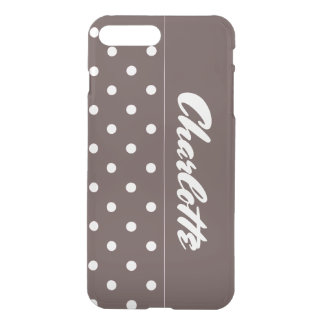 Chocolate Polka Dots Personalized iPhone 7 Plus Case