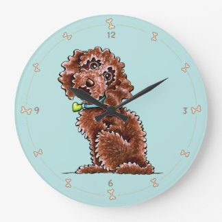 Chocolate Poodle Mix Side Sit Large Clock