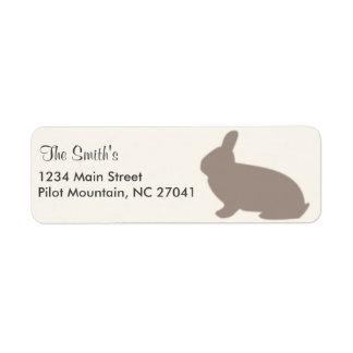 Chocolate Rabbit Pink Ribbon Monogrammed Return Address Label