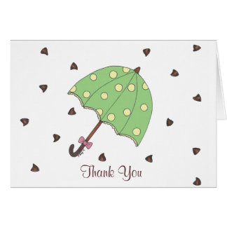 Chocolate Rain Umbrella Raindrops Thank You Notes