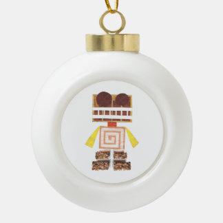 Chocolate Robot Ceramic Ball Ornament