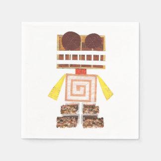 Chocolate Robot Napkins Disposable Serviette
