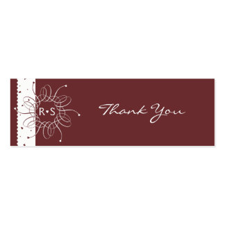 Chocolate Romantic Rosette Wedding Thank You Tag Pack Of Skinny Business Cards