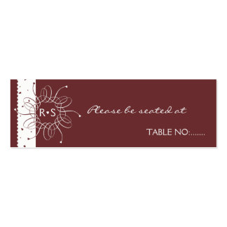Chocolate Romantic Rosette WeddingTable Place Card Pack Of Skinny Business Cards