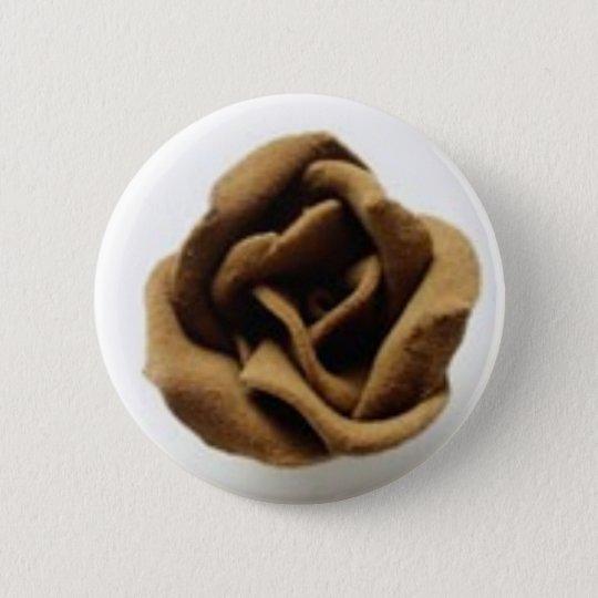 chocolate rose 6 cm round badge