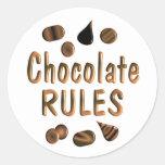 Chocolate Rules Round Sticker
