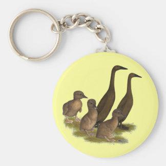 Chocolate Runner Duck Family Keychain