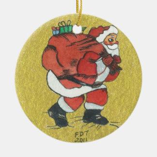 """Chocolate Santa Claus"" with bag Xmas Ornament"