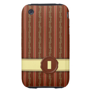 Chocolate Shop Monogram -Mint Floral Stripe - I Tough iPhone 3 Cover