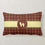 Chocolate Shop Monogram -Red Brown Plaid - W Throw Pillow