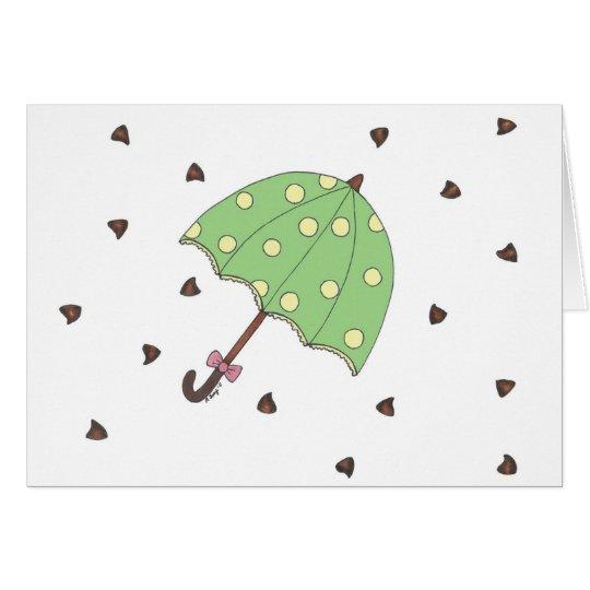 Chocolate Showers Candy Raindrops Umbrella Card