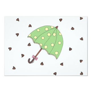 Chocolate Showers Candy Raindrops Umbrella Card 13 Cm X 18 Cm Invitation Card
