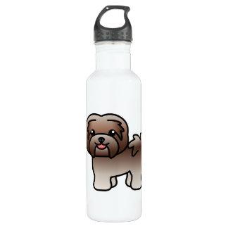 Chocolate Silver Cartoon Havanese Dog 710 Ml Water Bottle