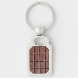 Chocolate Silver-Colored Rectangle Key Ring