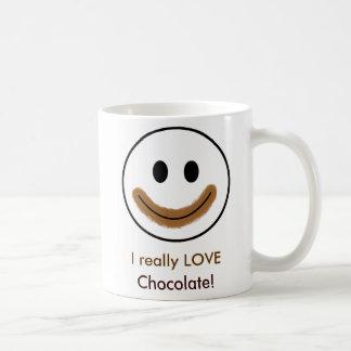 "Chocolate Smiley Face ""I really LOVE Chocolate!"" Basic White Mug"
