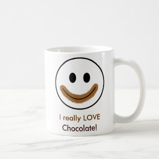 "Chocolate Smiley Face ""I really LOVE Chocolate!"" Coffee Mug"