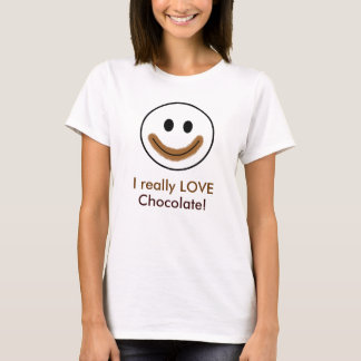 "Chocolate Smiley Face ""I really LOVE Chocolate!"" T-Shirt"