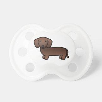 Chocolate Smooth Coat Dachshund Cartoon Dog Pacifier