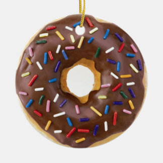 Chocolate Sprinkle Doughnut Christmas Ornament