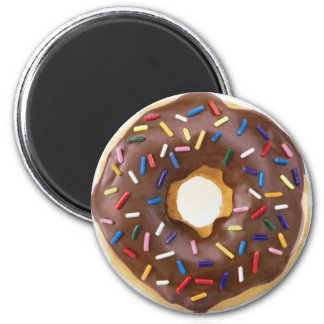 Chocolate Sprinkles Doughnut 6 Cm Round Magnet