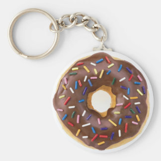 Chocolate Sprinkles Doughnut Basic Round Button Key Ring