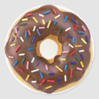 Chocolate Sprinkles Doughnut Classic Round Sticker