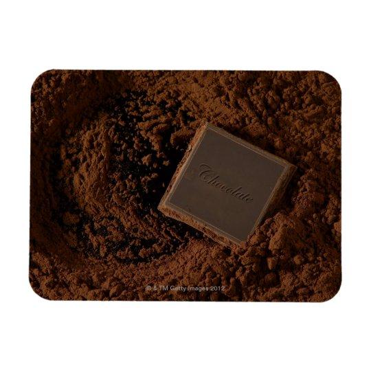 Chocolate Square in Chocolate Powder Rectangular Photo Magnet