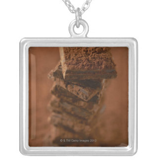 Chocolate squares stack silver plated necklace