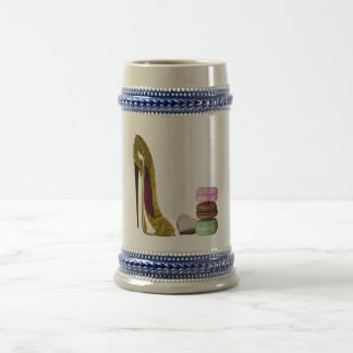 Chocolate Stiletto Shoe and French Macaroons Art Beer Steins
