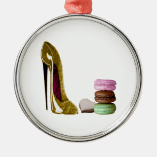 Chocolate Stiletto Shoe and French Macaroons Art Christmas Ornament