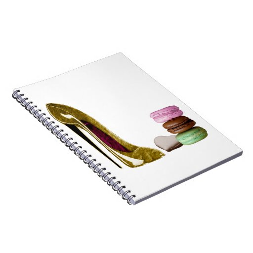 Chocolate Stiletto Shoe and French Macaroons Art Spiral Notebook