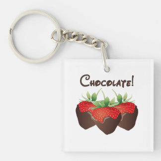 Chocolate Strawberries Double-Sided Square Acrylic Key Ring