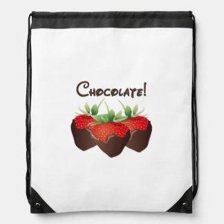 Chocolate Strawberries Drawstring Backpack
