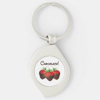 Chocolate Strawberries Silver-Colored Swirl Key Ring