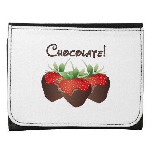 Chocolate Strawberries Leather Trifold Wallets