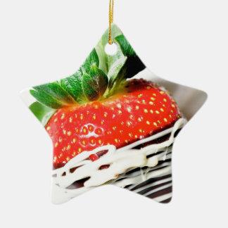 Chocolate strawberry! ceramic star decoration