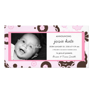 Chocolate & Strawberry Creme Birth Announcement Personalised Photo Card
