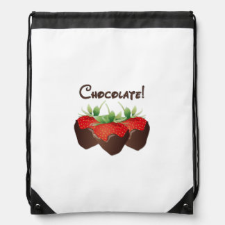 Chocolate Strawberry Love Drawstring Bags