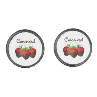 Chocolate Strawberry Love Gunmetal Finish Cufflinks