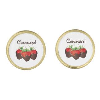 Chocolate Strawberry Love Gold Finish Cufflinks