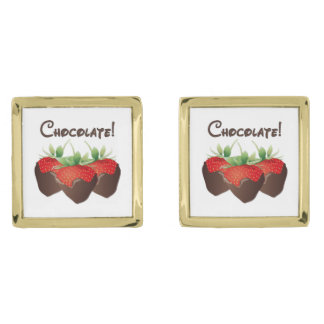 Chocolate Strawberry Love Gold Finish Cufflinks