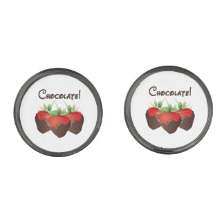 Chocolate Strawberry Love Gunmetal Finish Cufflinks