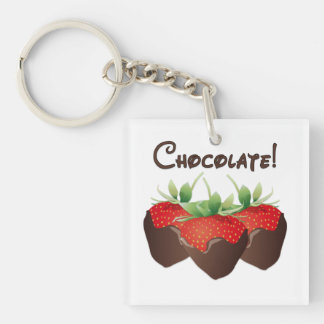 Chocolate Strawberry Love Double-Sided Square Acrylic Key Ring