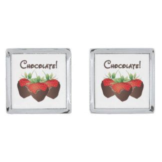 Chocolate Strawberry Love Silver Finish Cufflinks