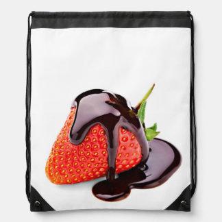 Chocolate Strawberry Drawstring Backpack